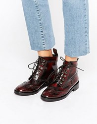 Office Anagram Brogue Lace Up Leather Ankle Boots Ox Blood Leather Red