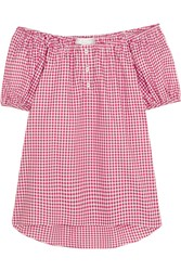 Caroline Constas Bardot Off The Shoulder Gingham Cotton Top Red