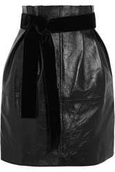 Philosophy Di Lorenzo Serafini Glossed Textured Leather Mini Skirt Black