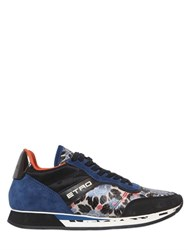 Etro Floral Jacquard And Suede Sneakers