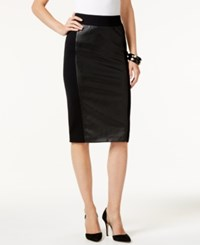 Inc International Concepts Faux Leather Front Pencil Skirt Only At Macy's Deep Black