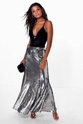 Boohoo Paola Floor Sweeping Sequin Maxi Skirt Silver