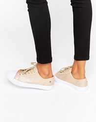 Blink Lace Up Plimsoll Trainer Nude Canvas Beige