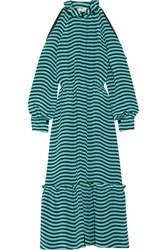 Fendi Cutout Striped Silk Cady Midi Dress Light Blue