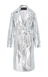 Brashy Millennium Leather Trench Coat Silver