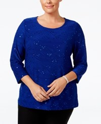 Jm Collection Plus Size Sequined Jacquard Top Only At Macy's Bright Sapphire