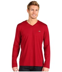Lacoste Long Sleeve Pima Jersey V Neck T Shirt Bordeaux Men's T Shirt Burgundy