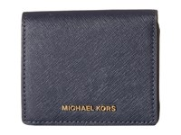 Michael Michael Kors Jet Set Travel Carryall Card Case Admiral Credit Card Wallet Navy