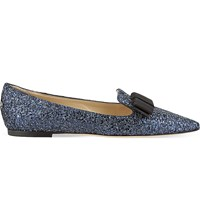 Jimmy Choo Gala Crackly Glitter Pointed Toe Flats Navy