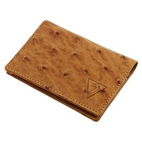 Volstruis Ostrich Leather Clamshell Wallet Antique Saddle Md