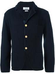 Thom Browne Patch Pockets Ribbed Cardigan Blue
