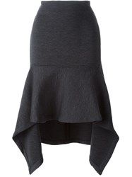 Marni Asymmetric Flared Midi Skirt Grey