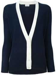 Moncler Contrasting Edge Buttoned Cardigan Blue