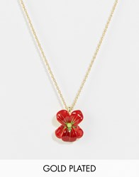 Les Nereides Flower Necklace Red