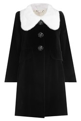 Marc Jacobs Velvet Coat With Mink Fur Collar Black