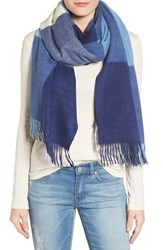 Nordstrom Women's Collection Plaid Cashmere Scarf Blue Combo