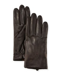 Ugg Three Point Leather Gloves W Faux Fur Lining Brown