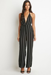 Forever 21 Striped Halter Jumpsuit Black White