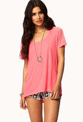 Forever 21 High Low Tee Neon Pink