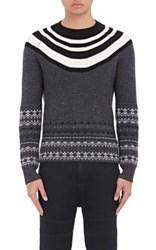 Neil Barrett Men's Fair Isle And Striped Chunky Wool Sweater Black