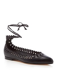 Via Spiga Sammy Ankle Tie Pointed Toe Flats Black