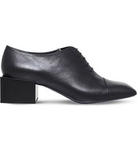 Jil Sander Heeled Leather Oxford Shoes Black