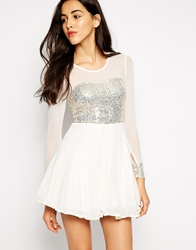 Ax Paris Skater Dress With Sequin Bust And Sheer Sleeves Cream