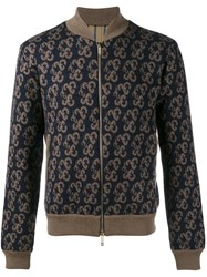 Etro Knitted Paisley Bomber Jacket Brown