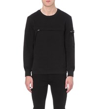 Blood Brother Zip Detail Cotton Blend Sweatshirt Black