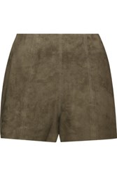 Haute Hippie Suede Shorts Army Green