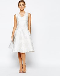 True Decadence Midi Prom Dress In Exclusive Jaquard White