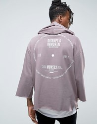 Asos Oversized Hoodie With 3 4 Sleeve And Back Print Violet Grey Beige