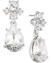 Givenchy Gold Tone Multi Crystal Pear Shape Drop Earrings Silver
