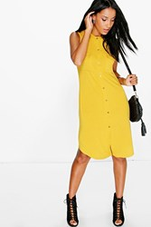 Boohoo Button Through Sleeveless Shirt Dress Ochre