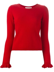 Philosophy Ruffled Cuff Sweater Red