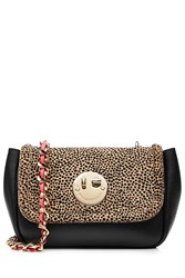 Hill And Friends Happy Chain Leather And Calf Hair Shoulder Bag Animal Prints