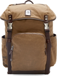 Diesel Brown Canvas And Leather Backpack