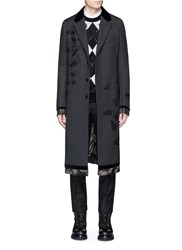 Alexander Mcqueen Butterfly Embroidered Wool Twill Coat Black