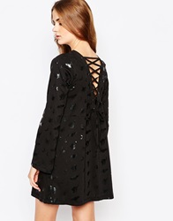 Worn By Halloween Witches Dress With Flared Sleeve And Lace Up Back Black