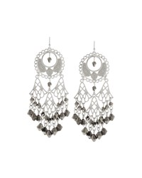 Fragments For Neiman Marcus Fragments Silvertone Filigree Crystal Chandelier Earrings Women's