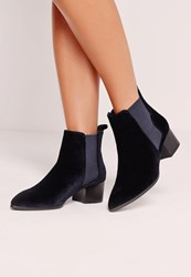 Missguided Velvet Pointed Toe Ankle Boots Navy Blue