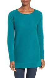 Halogenr Women's Halogen High Low Wool And Cashmere Tunic Sweater Teal Green