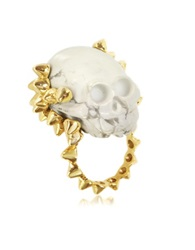 Bernard Delettrez Golden Studs With Marble Skull Ring