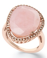 Macy's 14K Rose Gold Over Sterling Silver Ring Pink Opal 10 3 4 Ct. T.W. And Diamond 1 4 Ct. T.W. Ring