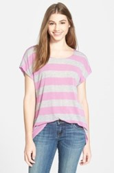Gibson Ribbed Button Back Stripe Tee Purple