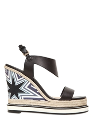 Nicholas Kirkwood 120Mm Silk Satin And Leather Wedge Sandals Black
