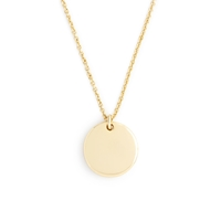 J.Crew 14K Gold Circle Charm Necklace With 16' Chain