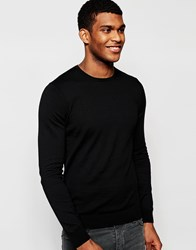 United Colors Of Benetton 100 Cotton Knitted Crew Neck Jumper Black
