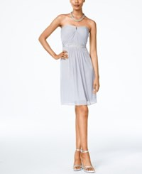 Adrianna Papell Strapless Ruched Dress Silver