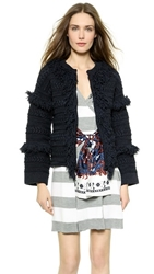 Thakoon Fringed Cardigan Jacket Navy